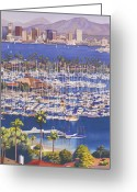Bay Painting Greeting Cards - A Clear Day in San Diego Greeting Card by Mary Helmreich