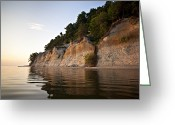Horsehead Greeting Cards - A Cliff Wall On The River Is Bathed Greeting Card by Hannele Lahti