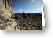 Desolate Landscapes Greeting Cards - A Climber Rappels Down The Face Greeting Card by Annie Griffiths