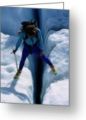 Hikers And Hiking Photo Greeting Cards - A Climber Steps Over A Crevasse In Root Greeting Card by Rich Reid