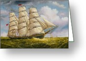 Eric Bellis Greeting Cards - A Clipper Ship Under Sail Greeting Card by Eric Bellis