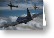 Ww2 Photographs Greeting Cards - A close encounter Greeting Card by Ken Brannen