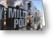 Military Police Greeting Cards - A Close-up View Of Marines Holding Riot Greeting Card by Stocktrek Images
