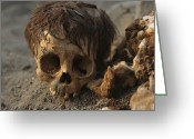 Ethnic And Tribal Peoples Greeting Cards - A Close View Of A Human Skull Greeting Card by Ira Block
