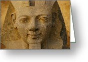 Complex Greeting Cards - A Close View Of A Large Statue At Luxor Greeting Card by Kenneth Garrett