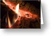 Soot Greeting Cards - A Close View Of Burning Logs Greeting Card by Taylor S. Kennedy