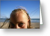 Hairstyles Greeting Cards - A Close View Of The Eyes Of A Girl Greeting Card by John Burcham