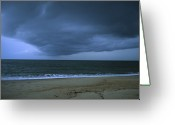 Sand Beaches Greeting Cards - A Cloud Front Over The Ocean Greeting Card by Stacy Gold