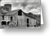 Wooden Barns Greeting Cards - A Cloudy Day BW Greeting Card by JC Findley