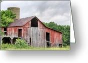 Wooden Barns Greeting Cards - A Cloudy Day Greeting Card by JC Findley