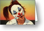 Fence Greeting Cards - A clown in my backyard Greeting Card by James W Johnson