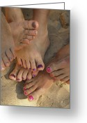Decoration And Ornament Greeting Cards - A Cluster Of Bare Feet With Painted Greeting Card by Bill Hatcher