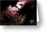 Dark Cloud Greeting Cards - A Cluster Of Bright Young Stars Tear Greeting Card by Brian Christensen