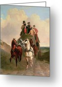 Coach Greeting Cards - A Coach and Four on an Open Road  Greeting Card by William Snr Shayer