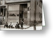 Brewing Greeting Cards - A Coal Miners Bar  George Ave Parsons Pennsylvania early 1900s Greeting Card by Arthur Miller