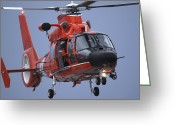 Law Enforcement Greeting Cards - A Coast Guard Mh-65 Dolphin Helicopter Greeting Card by Stocktrek Images