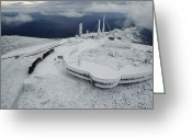 Observatories Greeting Cards - A Cog Railway Carries Visitors Greeting Card by Sandy Felsenthal