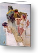 Alma-tadema Greeting Cards - A Coign of Vantage Greeting Card by Sir Lawrence Alma-Tadema