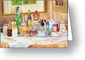 Valuable China Greeting Cards - A Collection of Drinks Greeting Card by Mary Helmreich