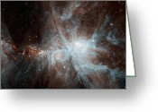 H Ii Regions Greeting Cards - A Colony Of Hot Young Stars Greeting Card by Stocktrek Images