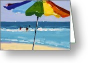Beach Umbrella Painting Greeting Cards - A Colorful Spot Greeting Card by Debbie Miller