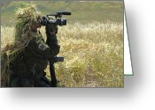 Reporting Greeting Cards - A Combat Videographer Practices Evasion Greeting Card by Stocktrek Images