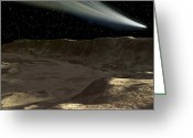 Escarpment Greeting Cards - A Comet Passes Over The Surface Greeting Card by Ron Miller