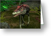 Sharp Claws Greeting Cards - A Compsognathus Wanders A Late Jurassic Greeting Card by Walter Myers