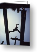 Humans Greeting Cards - A Construction Worker Jumps From Girder Greeting Card by Lynn Johnson