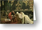Tissot Greeting Cards - A Convalescent Greeting Card by James Jacques Joseph Tissot