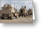 Armored Vehicles Greeting Cards - A Convoy Of Mrap Vehicles Near Camp Greeting Card by Stocktrek Images