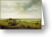 Hay Painting Greeting Cards - A Corn Field Greeting Card by Peter de Wint