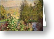 Jardin Painting Greeting Cards - A Corner of the Garden at Montgeron Greeting Card by Claude Monet