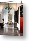 Sultan Greeting Cards - A corridor in Keraton Sultan Palace Yogyakarta  Greeting Card by Charuhas Images