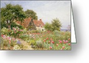 Garden Pathway Greeting Cards - A Cottage Garden Greeting Card by Henry Sutton Palmer