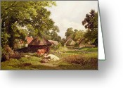 Sat Painting Greeting Cards - A Cottage Home in Surrey Greeting Card by Edward Henry Holder