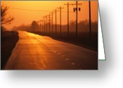 River Scenes Greeting Cards - A Country Highway Fades Into The Sunset Greeting Card by Joel Sartore