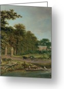 Row Boat Greeting Cards - A Country House Greeting Card by J Hackaert