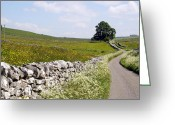 Dry Stone Wall Greeting Cards - A country road in the English Peak District Greeting Card by Rod Jones