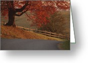 Wood Fences Greeting Cards - A Country Road Turns Downhill, Passing Greeting Card by Kenneth Garrett