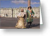 Aristocracy And Royalty Greeting Cards - A Couple Dress As Catherine The Great Greeting Card by Richard Nowitz
