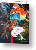 Lovebird Painting Greeting Cards - A Couple of Parrots Greeting Card by Ilona Tigges - Goetze