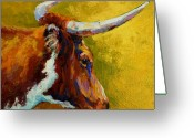 Farms Greeting Cards - A Couple Of Pointers - Longhorn Steer Greeting Card by Marion Rose