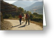 Hikers And Hiking Photo Greeting Cards - A Couple With Their Dog Hiking Greeting Card by Michael Melford