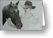 Cowboy Pencil Drawing Greeting Cards - A Cowboy and His Horse Greeting Card by David Ackerson