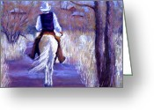 Cowboy Pastels Greeting Cards - A Cowboy Going Home Greeting Card by Cheryl Whitehall