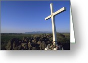 San Juan Bautista Greeting Cards - A Cross On A Hill Near The San Xavier Greeting Card by Rich Reid