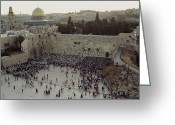 Feast Greeting Cards - A Crowd Gathers Before The Wailing Wall Greeting Card by James L. Stanfield
