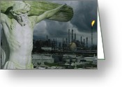 Disasters Greeting Cards - A Crucifixion Statue In A Cemetery Greeting Card by Joel Sartore