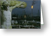 Rosary Greeting Cards - A Crucifixion Statue In Holy Rosary Greeting Card by Joel Sartore
